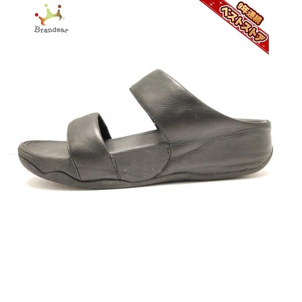 フィットフロップ Fitflop ミュール 22.5 - レザー 黒 レディース 靴