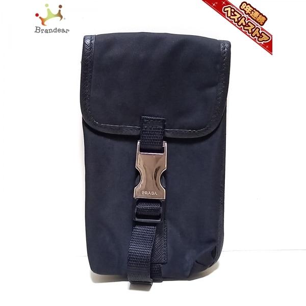 プラダ PRADA 携帯電話ケース - ナイロン×レザー 黒 財布
