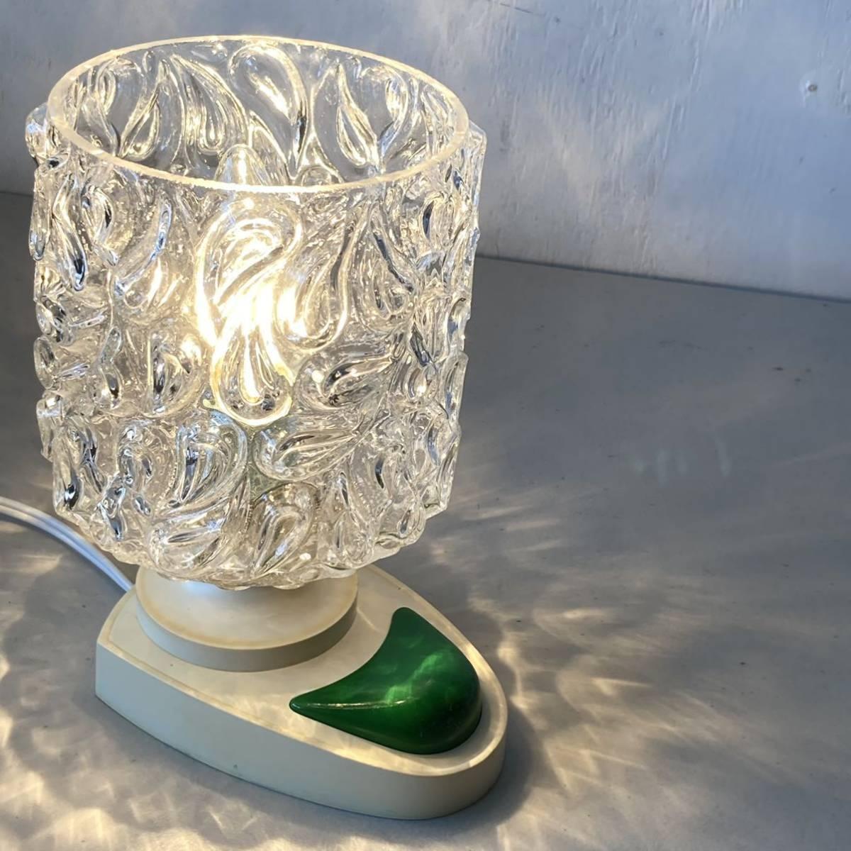 ドイツ70's ヴィンテージ ガラス シェード テーブルランプ ベッドサイド レトロ スペースエイジ インテリア_画像2