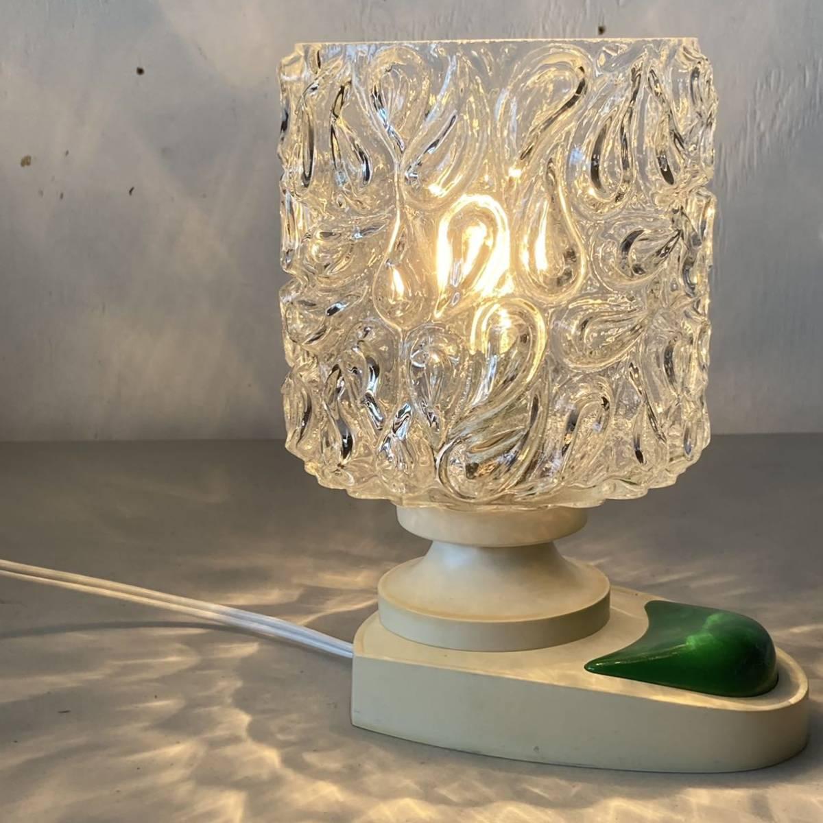 ドイツ70's ヴィンテージ ガラス シェード テーブルランプ ベッドサイド レトロ スペースエイジ インテリア_画像3