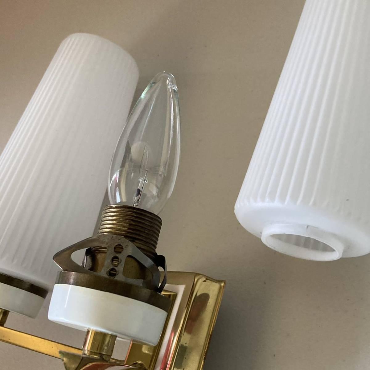 ドイツ50's ヴィンテージ ウォールランプ ブラケットランプ ガラスシェード アンティーク インテリア ディスプレイ 照明デザイン 店舗什器_画像9