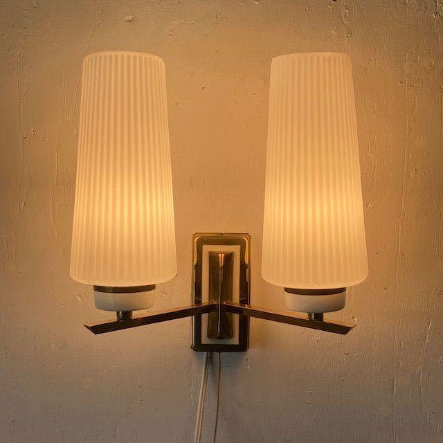 ドイツ50's ヴィンテージ ウォールランプ ブラケットランプ ガラスシェード アンティーク インテリア ディスプレイ 照明デザイン 店舗什器_画像3