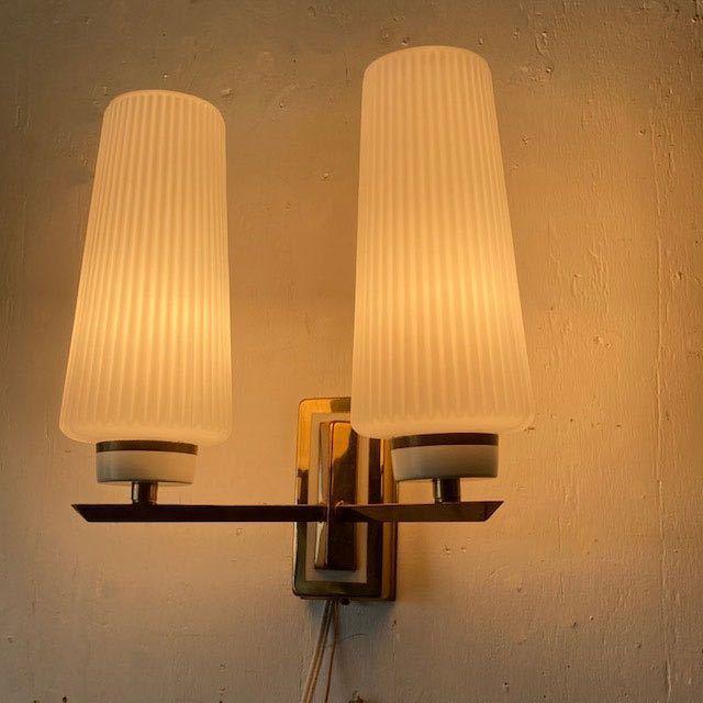 ドイツ50's ヴィンテージ ウォールランプ ブラケットランプ ガラスシェード アンティーク インテリア ディスプレイ 照明デザイン 店舗什器_画像4