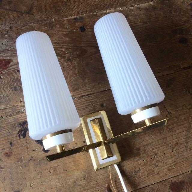 ドイツ50's ヴィンテージ ウォールランプ ブラケットランプ ガラスシェード アンティーク インテリア ディスプレイ 照明デザイン 店舗什器_画像2