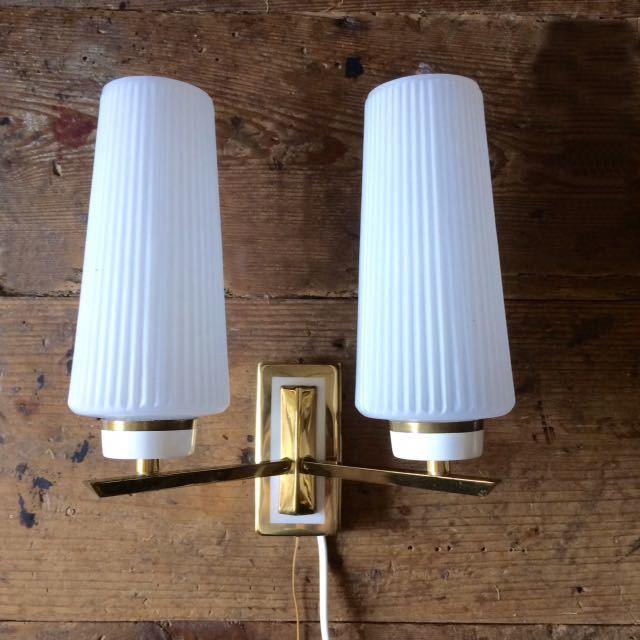 ドイツ50's ヴィンテージ ウォールランプ ブラケットランプ ガラスシェード アンティーク インテリア ディスプレイ 照明デザイン 店舗什器_画像1