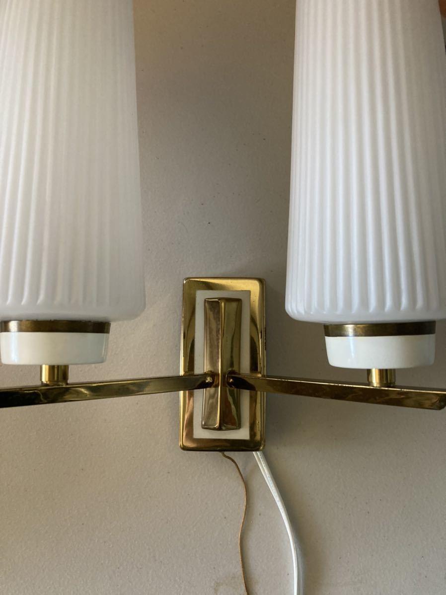 ドイツ50's ヴィンテージ ウォールランプ ブラケットランプ ガラスシェード アンティーク インテリア ディスプレイ 照明デザイン 店舗什器_画像5