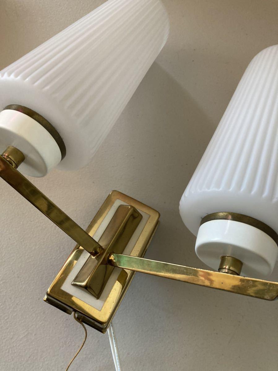 ドイツ50's ヴィンテージ ウォールランプ ブラケットランプ ガラスシェード アンティーク インテリア ディスプレイ 照明デザイン 店舗什器_画像6