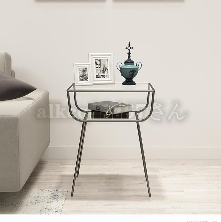 ★サイドテーブル ガラス★ ナイトスタンド ベッドテーブル 北欧 ソファサイド シェルフ机 インスタ映え デザイナーズ フランフランCZ-326_画像6