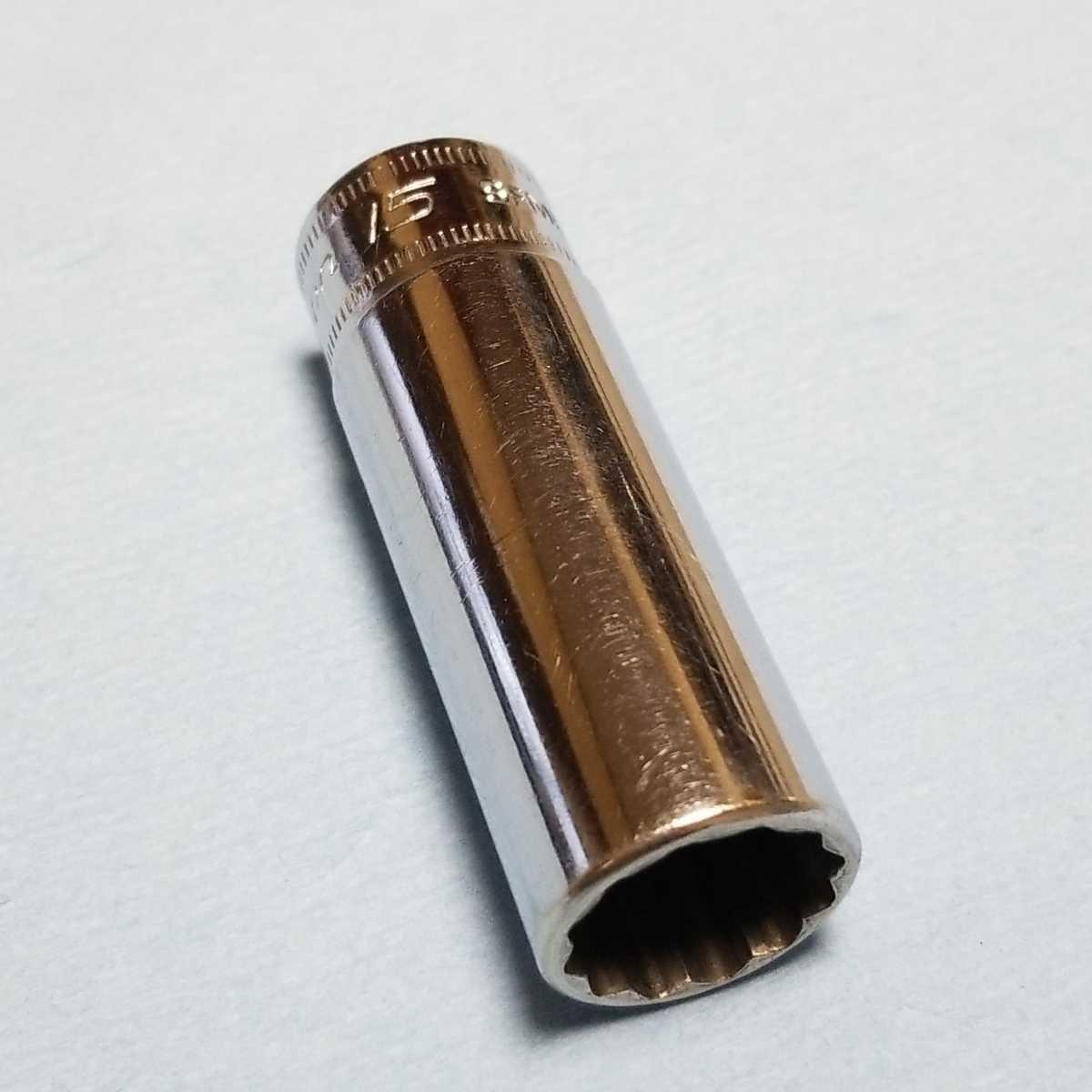 15mm 3/8 ディープ スナップオン SFM15 (12角) 中古品 保管品 SNAPON SNAP-ON ディープソケット ソケット 送料無料 _画像1