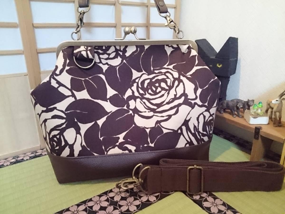 アンティーク ローズ ブラウン ベージュ バラ 花 がま口 3way ショルダー バッグ ハンドメイド 手提げ 斜めかけ 和装 着物 長財布 入ります