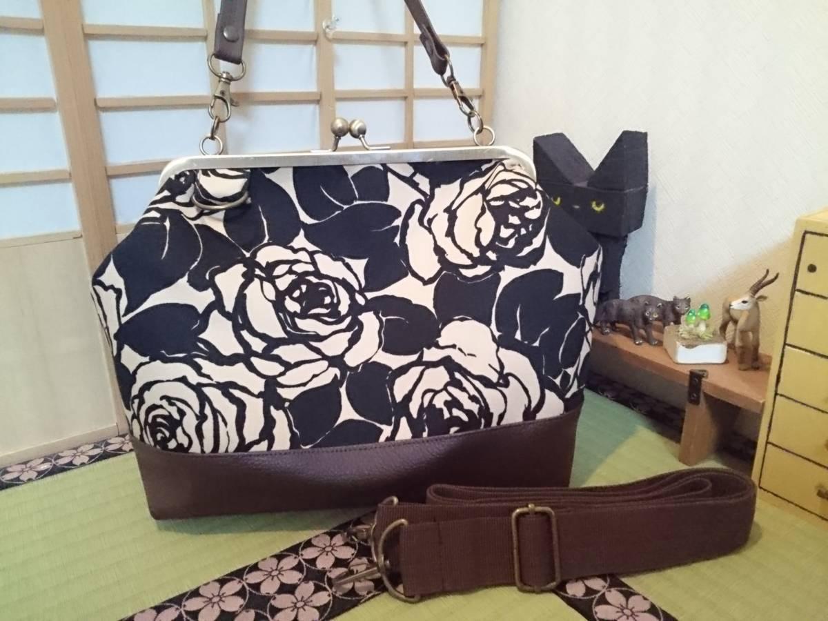 アンティーク ローズ ブラック ベージュ バラ 花 がま口 3way ショルダー バッグ ハンドメイド 手提げ 斜めかけ 和装 着物 長財布 入ります