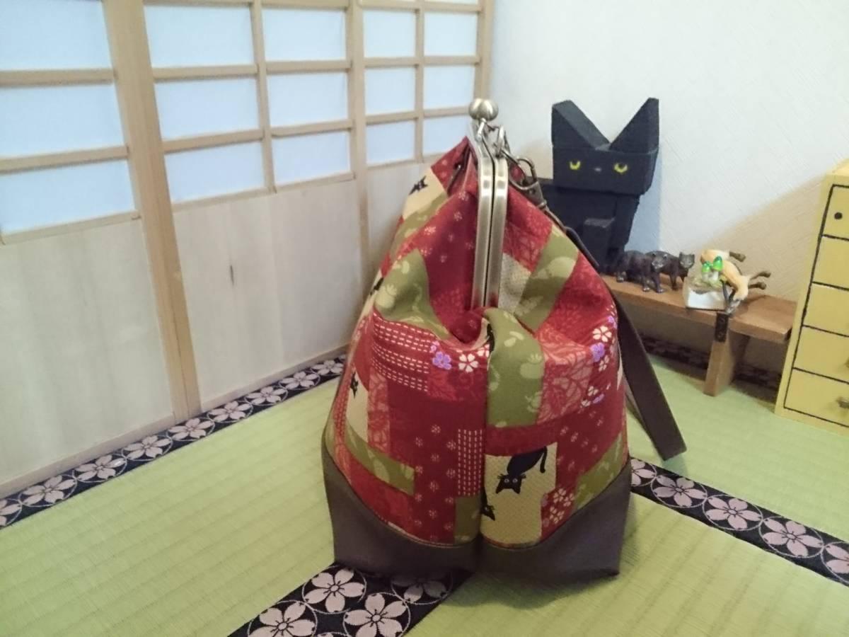 和柄 パッチ風 黒猫 母の日 プレゼント 赤 花 がま口 3way ショルダー バッグ ハンドメイド 手提げ 斜めかけ 和装 着物 長財布 入ります