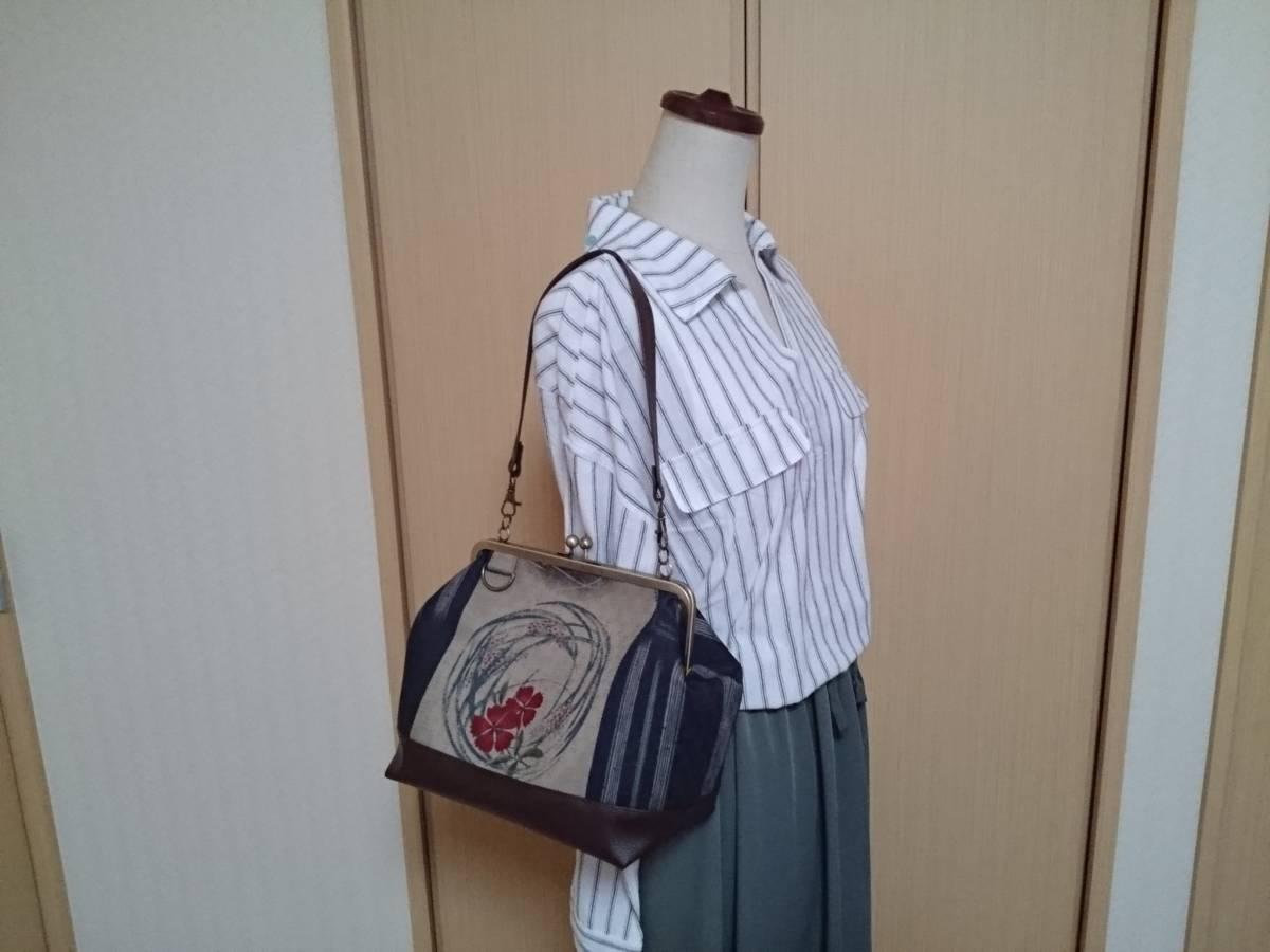 和柄 日本 花 紋様 渋 かわいい 大人 上品 和風 がま口 3way ショルダー バッグ ハンドメイド 手提げ 斜めかけ 和装 着物 長財布 入ります