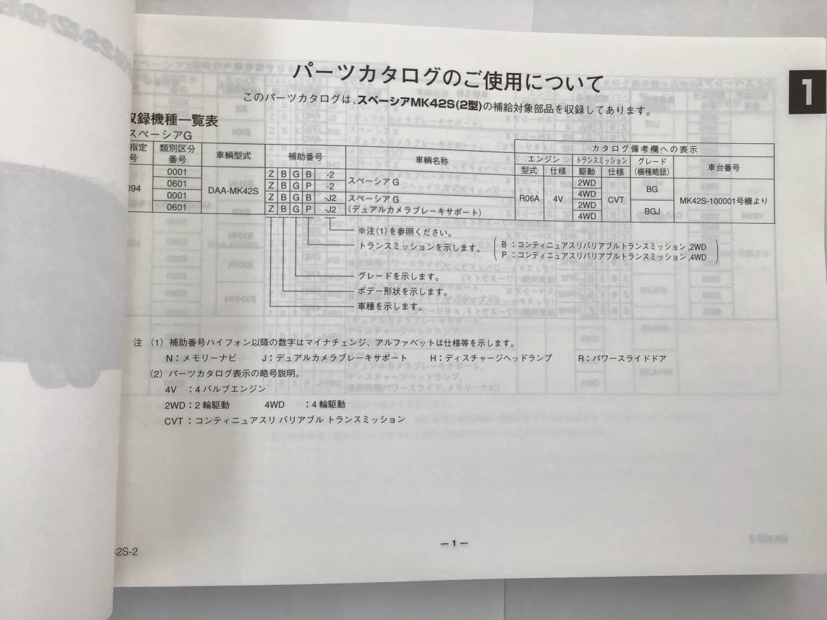 【匿名配送】スズキ・スペーシア スペーシアカスタム MK42S(2型) 2015-5 初版 パーツカタログ G/X/GS/XS_画像4
