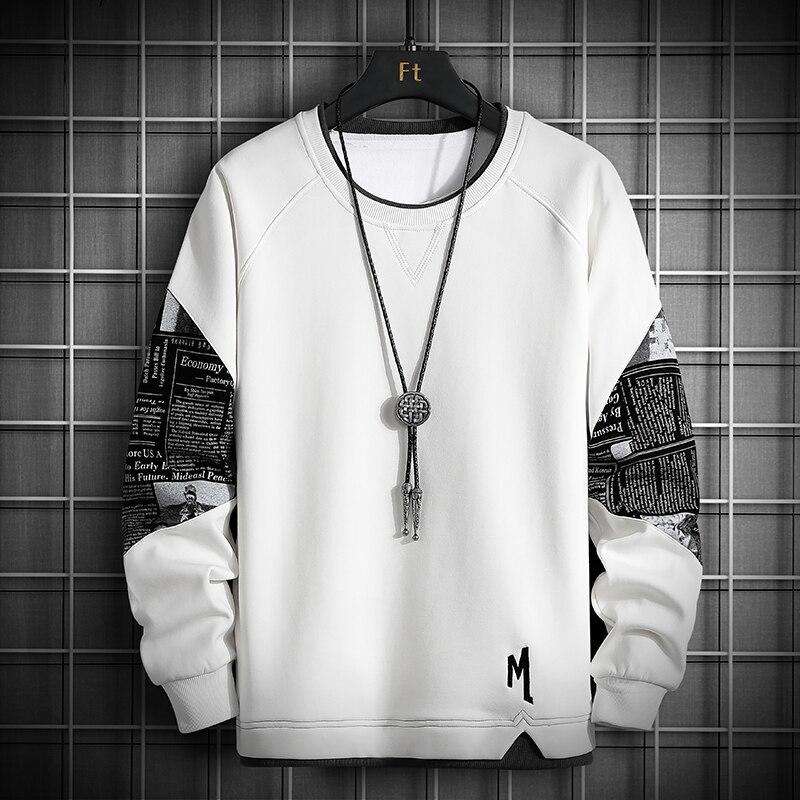 ◆最安にします◆裏起毛 Tシャツ パーカー スウェット トレーナー カジュアル プルオーバー トレーナー メンズ [M~4XL]選択 白 AT12017_画像1