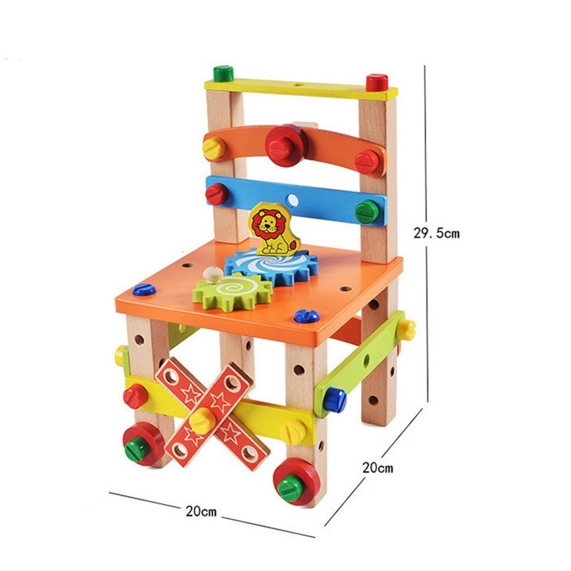 ◆最安にします◆子供用木製おもちゃ 知育玩具 積み木ブロック 椅子工作 組み立て 学習教育 変形 トレーニング 幼児 幼稚園学習 AT10571_画像2