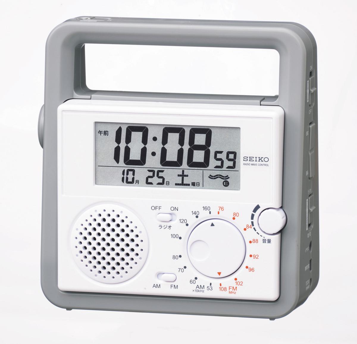 最落1円 訳あり品 セイコー 有ると便利な 電波時計 定価7,000円 SQ692W 防災用 ライト ラジオ付き_画像1
