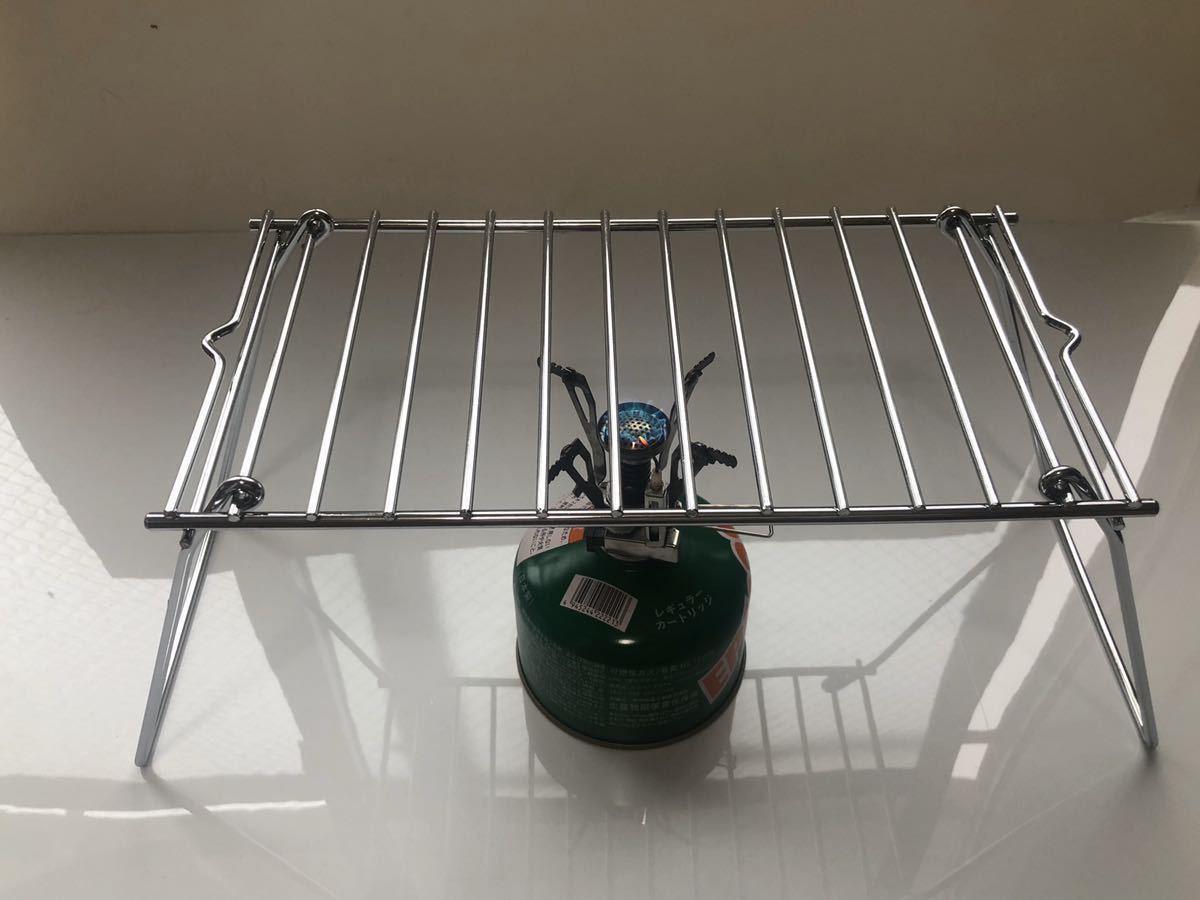 コンパクト折り畳み グリル BBQ 焚き火 クッカー スタンド マルチユースラック 便利グッズ