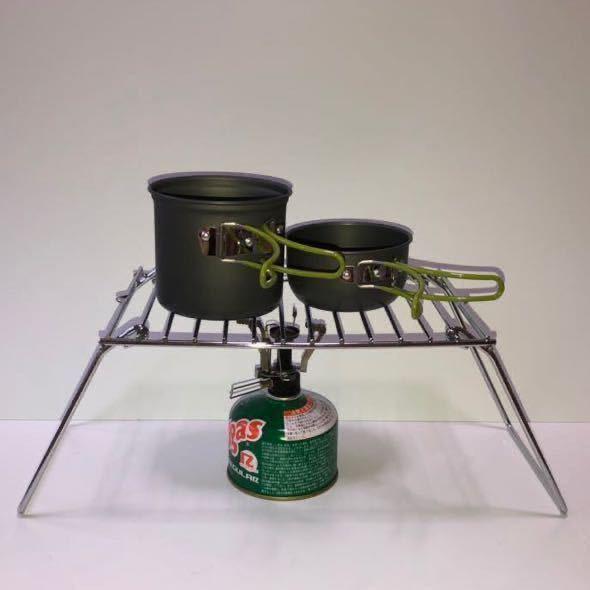 コンパクト BBQ グリル クッカー スタンド 焚き火 五徳 折畳み 収納 ラック 便利グッズ