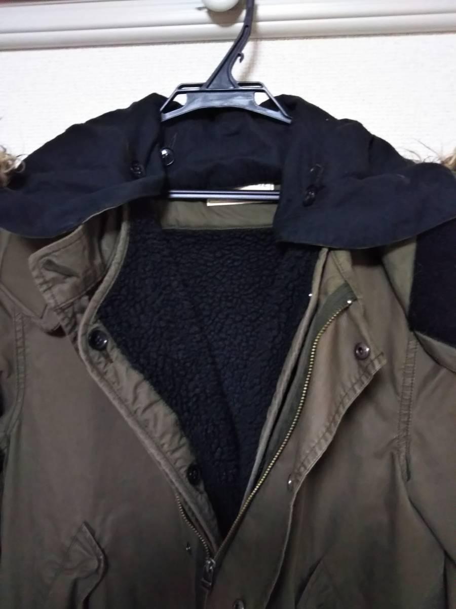 ☆nano universe(ナノユニバース) 男性用裏ボア付きモッズコート Mサイズ ボア脱着可能 右ポケットに穴有り☆_画像4
