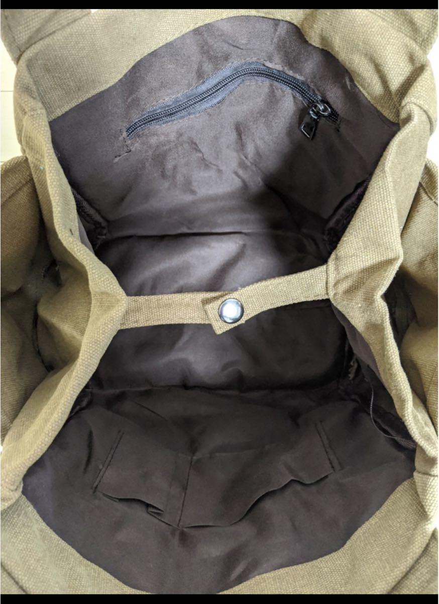 トートバッグ エコバッグ サブバッグ 2WAY 大容量 バッグ キャンバス 茶