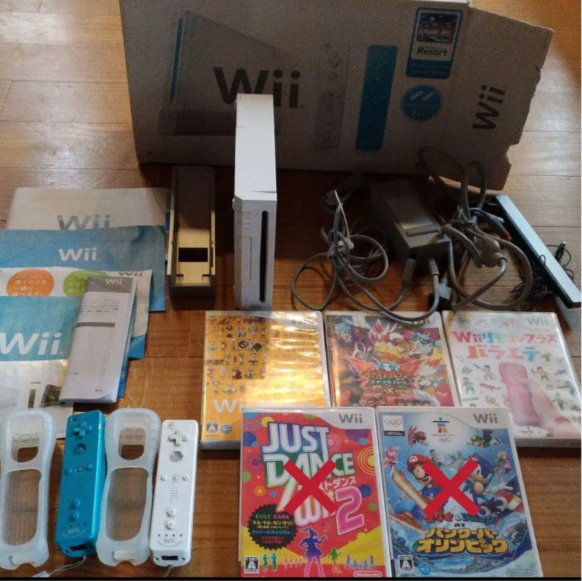 Wii 本体(説明書付き) ・wii コントローラー×2 ・ソフト3種類