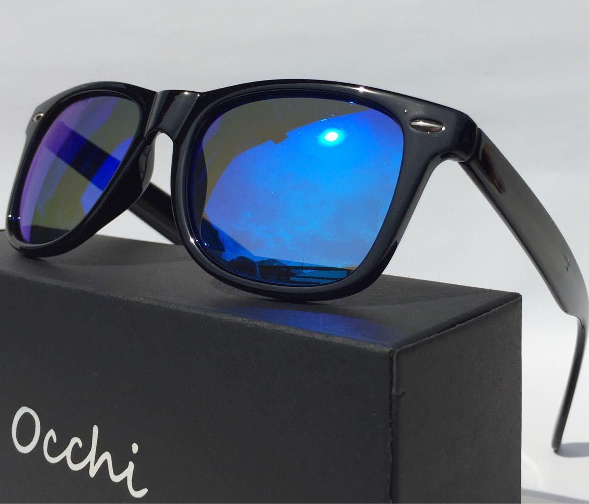 新品 OCCHI 偏光サングラス 偏光レンズUV400 軽量  ブルーミラー