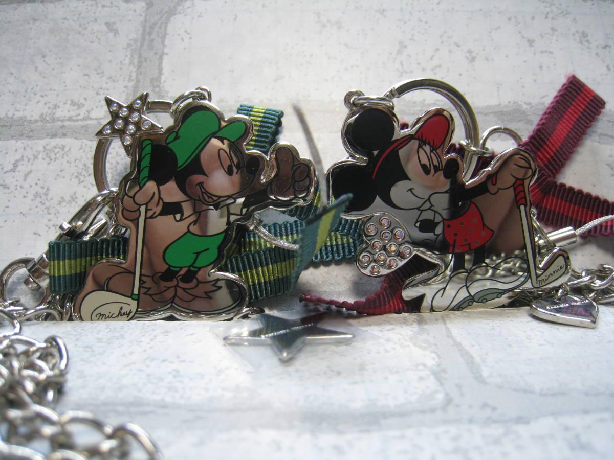 美品 サマンサタバサ ディズニー コラボ ミッキーマウス ミニーマウス チャーム キーホルダー チェーン付_画像1