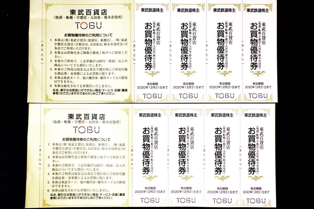 【即決】東武百貨店 お買い物優待券 8枚 有効期限:2021年6月30日_画像1
