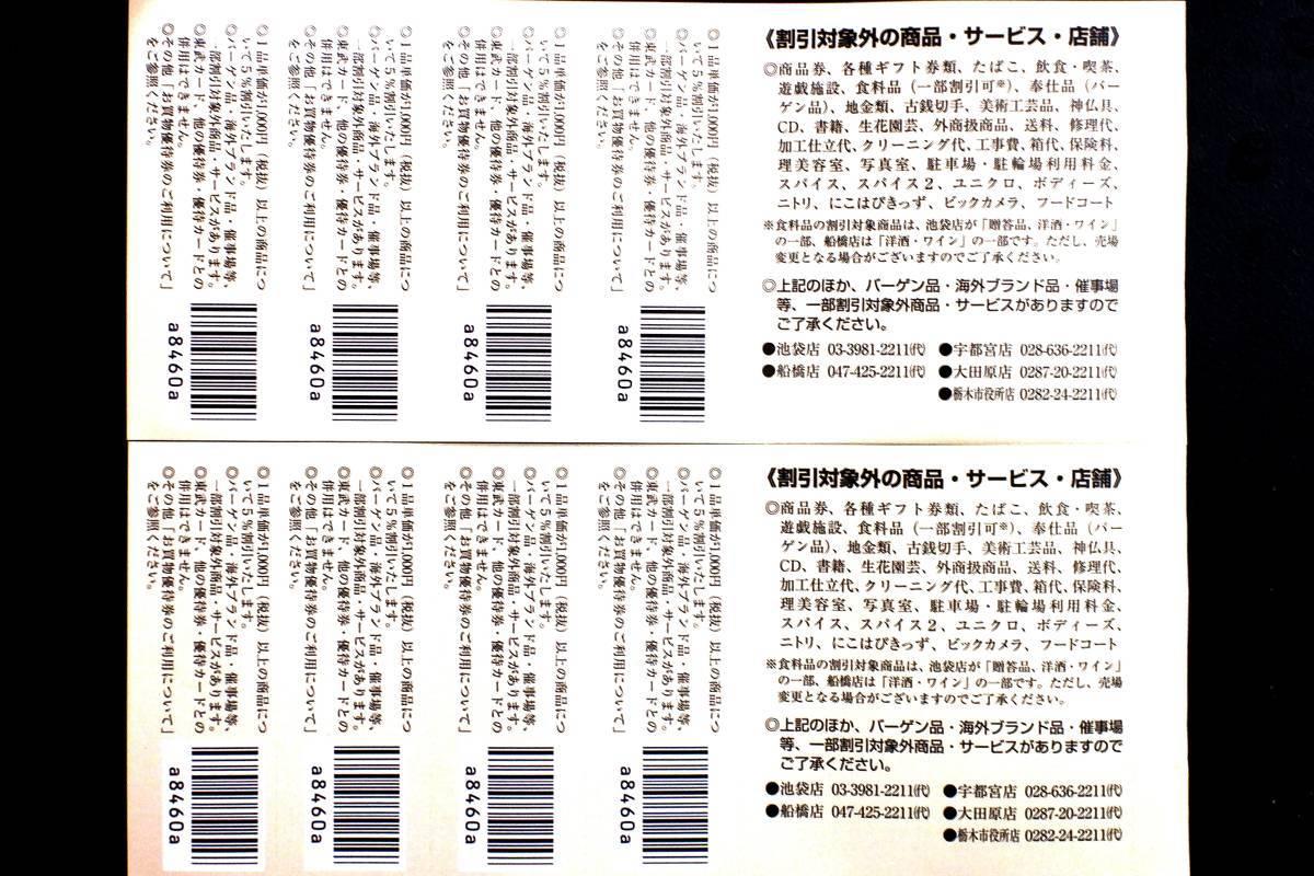 【即決】東武百貨店 お買い物優待券 8枚 有効期限:2021年6月30日_画像2