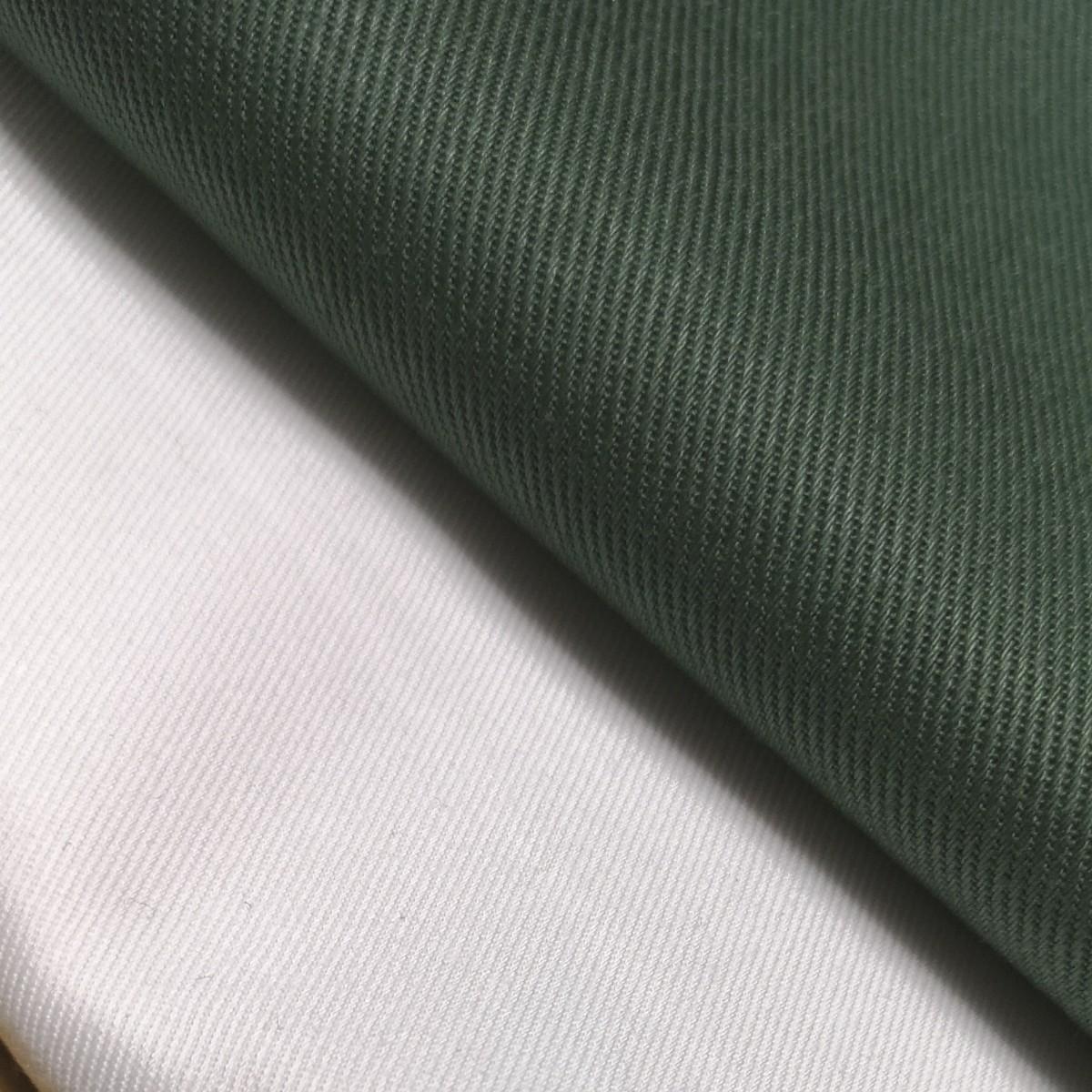 生地 チノクロス 綿ツイル 無地 グリーン&ホワイト2枚セット