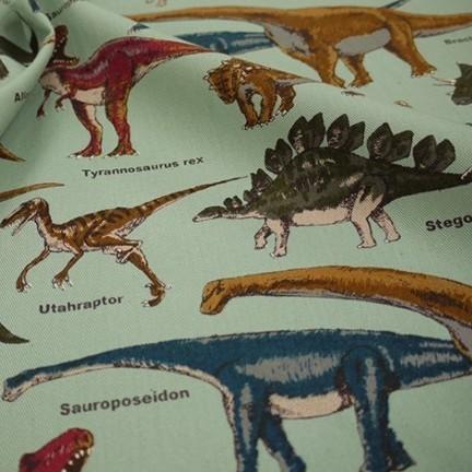 生地 恐竜のマーチ グリーン ツイルプリント 約110×55cm COTTON こばやし