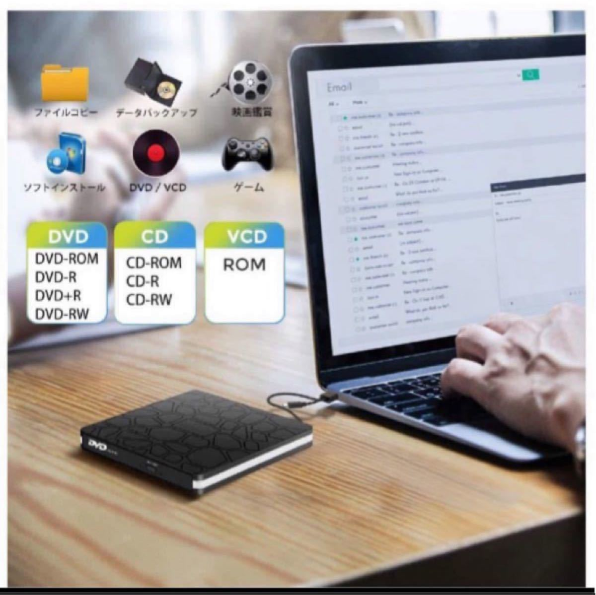 USB3.0 Type C 外付け DVDドライブ CD/DVDプレーヤー Type Cポート搭載ポータブルDVDドライブ高速薄型