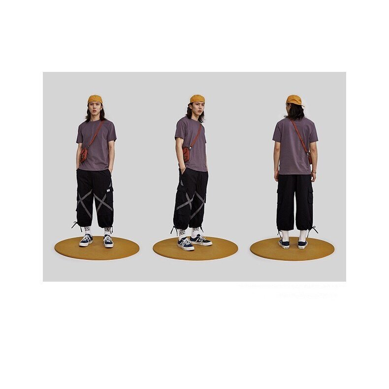 パンツ メンズ カーゴ カジュアル テーパードパンツ カーゴパンツ ボトムス ジョガーパンツ テープ スウェットパン メンズ シンプル 綿 太