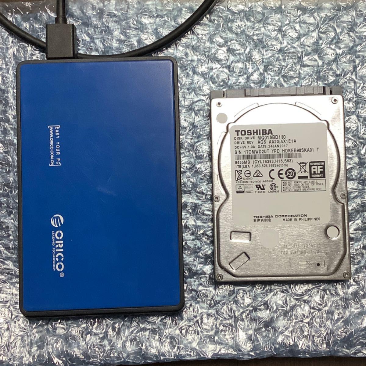 ORICO USB3.0 外付けHDD/SSD ケース + 東芝 1TB ハードディスク