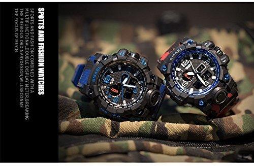 ☆お買い得☆ブルー PHCOOVERS ミリタリー 迷彩風 アナデジ 腕時計 メンズ 男性 アラーム クロノグラフ 多機能 運動_画像2