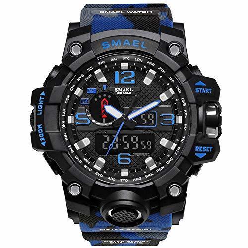 ☆お買い得☆ブルー PHCOOVERS ミリタリー 迷彩風 アナデジ 腕時計 メンズ 男性 アラーム クロノグラフ 多機能 運動_画像4