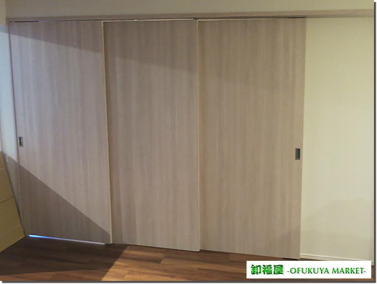 23658■室内用 木製 スライドドア 3枚組 上部レール付 W905×H2050■展示品/取り外し品_画像1
