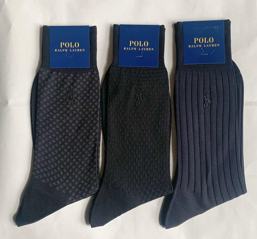 即決送料無料 ◆新品3足セット ポロラルフローレン メンズビジネスソックス 紳士靴下_画像1