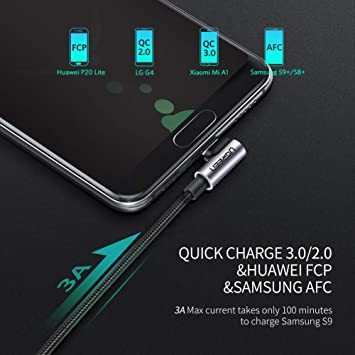 2m(2本) UGREEN USB Type C ケーブル L字ナイロン編み 3A急速充電 Quick Charge 3.0/2_画像3