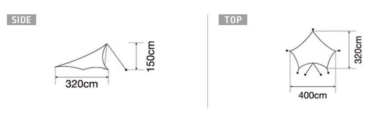 【格安】スノーピーク ライト タープ ペンタ シールド / キャンプ ソロ テント ヘキサタープ ワンポールペンタ