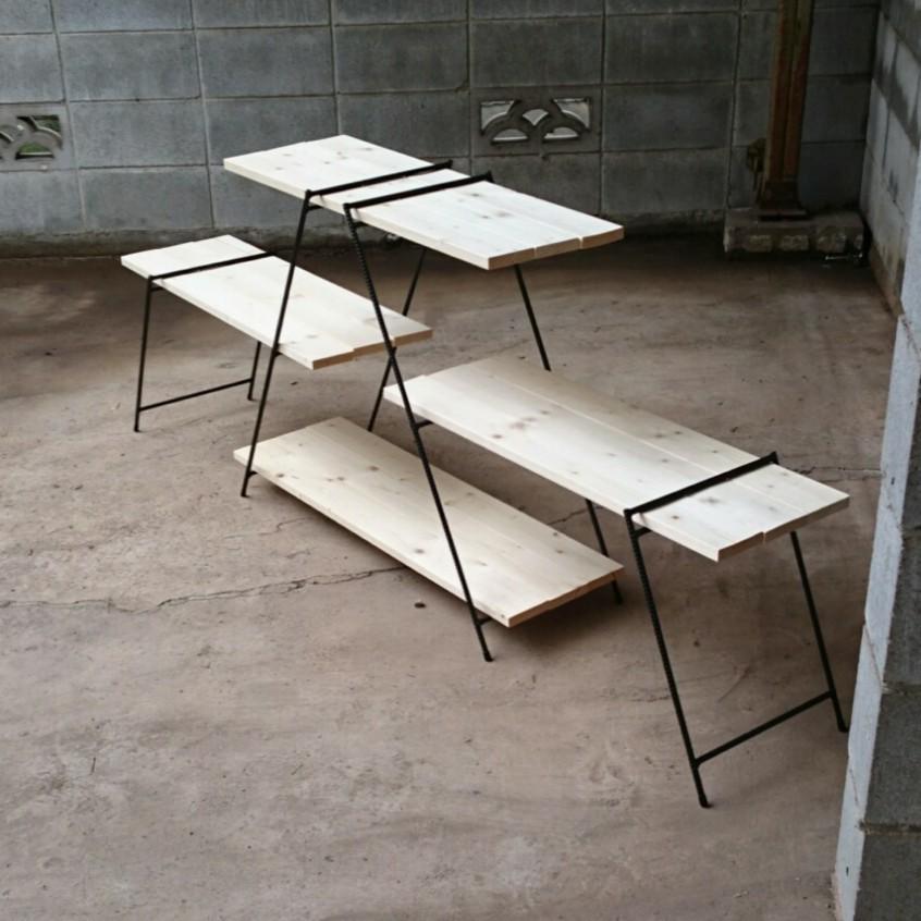 アイアンシェルフ アイアンレッグ 観葉植物 イベント 什器 アウトドアテーブル アイアンラック アウトドア BBQ キャンプ 鉄脚