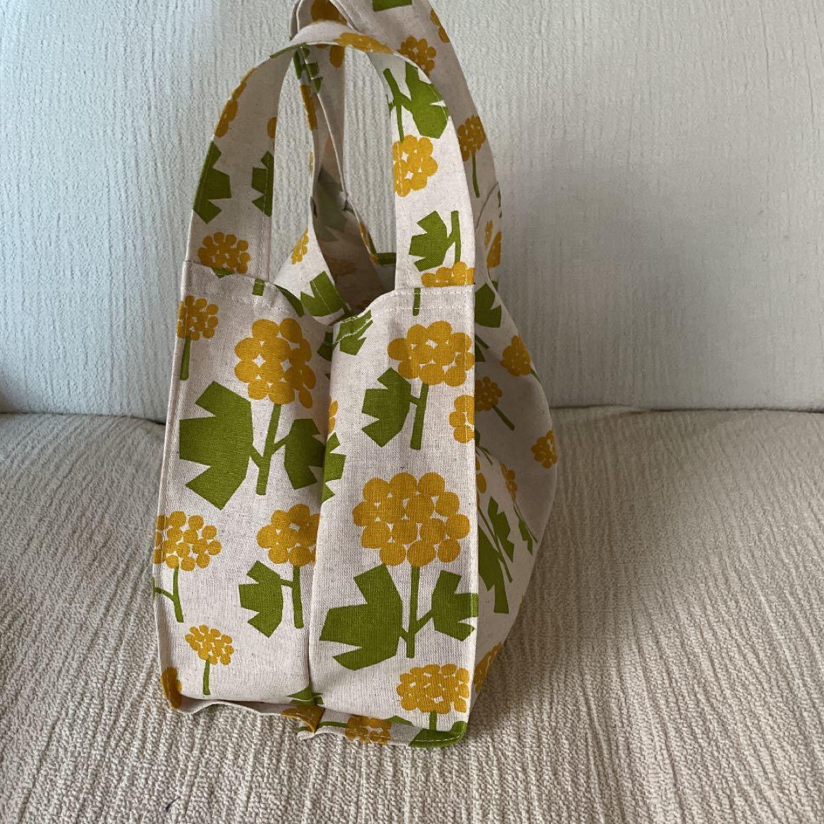 ハンドメイド コンビニバッグ エコバッグ 菜の花