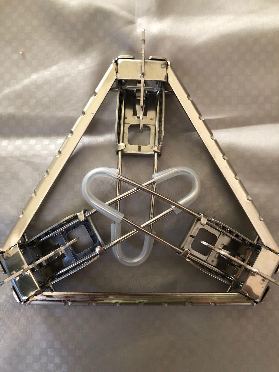 軽量三角シングルバーナースタンド クッカースタンド  高さ7段階微調整可能 五徳スタンド
