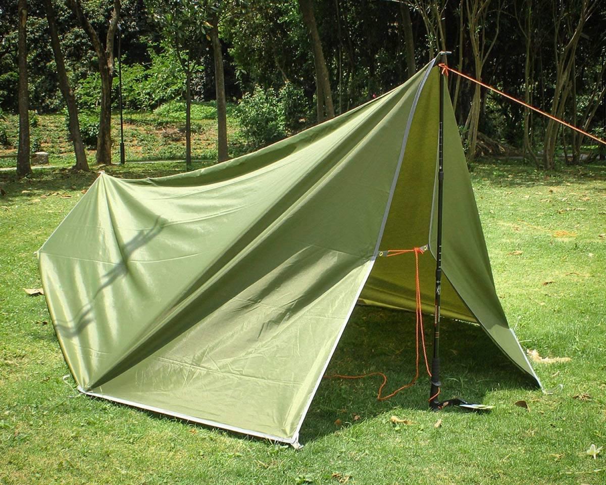 【大特価】防水タープ キャンプ タープ テント 軽量 日除け 高耐水加工 紫外線カット 遮熱 サンシェルター ポータブル 天幕 シェード_画像6
