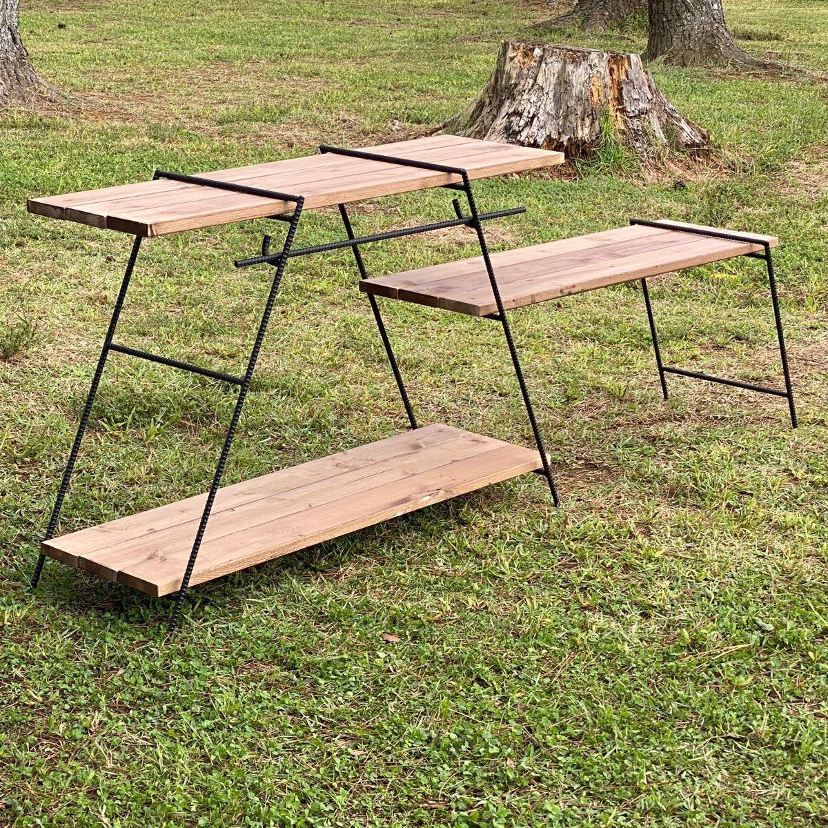 アイアンラック ワイドタイプ フック棒付き 鉄脚のみ アイアンレッグ キャンプテーブル
