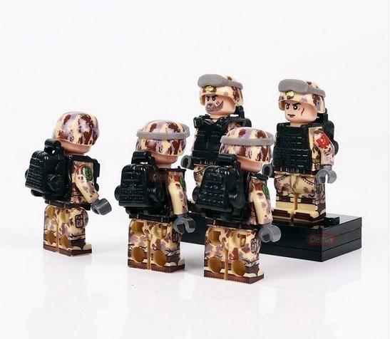 新品★送料無料 ~ LEGO レゴ 互換 ソルジャー 迷彩色 特殊部隊 砂漠戦 カスタム ミニフィグ 6体セット 大量武 R1414_画像5