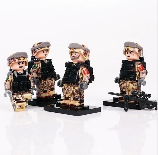 新品★送料無料 ~ LEGO レゴ 互換 ソルジャー 迷彩色 特殊部隊 砂漠戦 カスタム ミニフィグ 6体セット 大量武 R1414_画像2