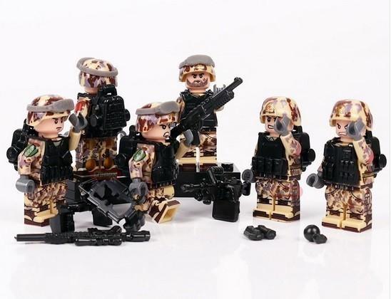 新品★送料無料 ~ LEGO レゴ 互換 ソルジャー 迷彩色 特殊部隊 砂漠戦 カスタム ミニフィグ 6体セット 大量武 R1414_画像3