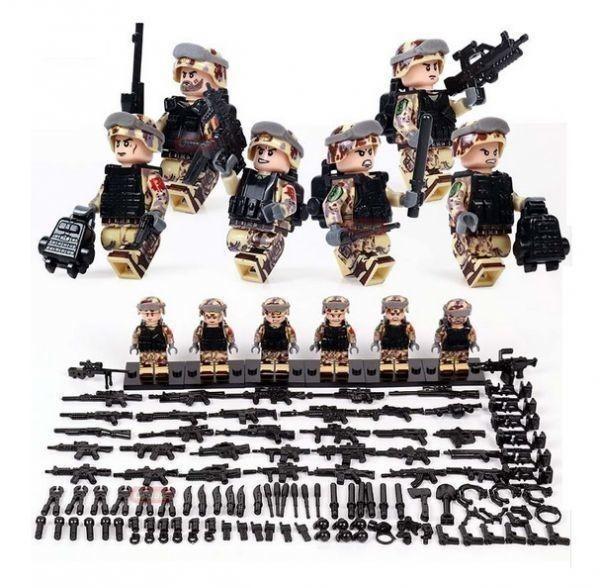 新品★送料無料 ~ LEGO レゴ 互換 ソルジャー 迷彩色 特殊部隊 砂漠戦 カスタム ミニフィグ 6体セット 大量武 R1414_画像1